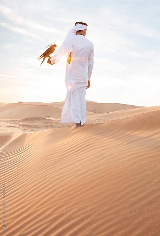 Arabian man in desert with falcon. Dubai. United Arab Emirates. by Hugh Sitton for Stocksy United