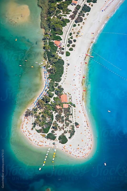 Aerial view of Blue Lagoon and Belcekiz Beach, Oludeniz, near Fethiye, Mediterranean Coast (Turquoise Coast), Anatolia, Turkey, Asia Minor, Eurasia by Gavin Hellier for Stocksy United