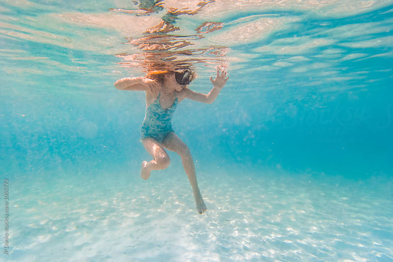 Little Girl Swimming Snorkeling Underwater at All Inclusive Caribbean Resort White Sand Beach by JP Danko for Stocksy United