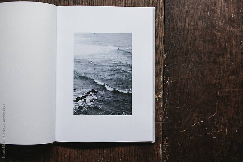 open book of photographs of nature by Nicole Mason for Stocksy United