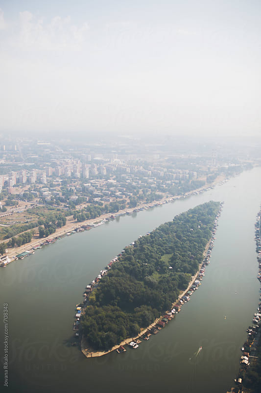 Photo of Belgrade and Danube river from a plane by Jovana Rikalo for Stocksy United