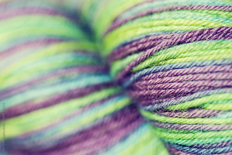 Macro of colorful yarn fiber by Kerry Murphy for Stocksy United