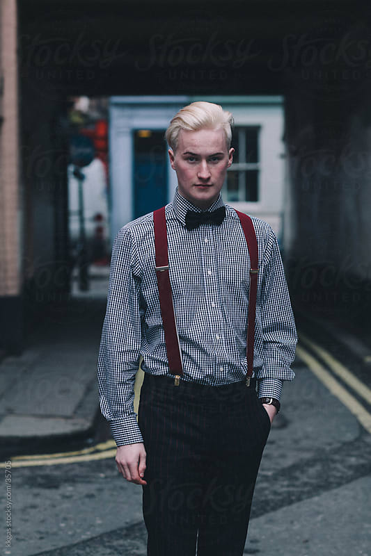 Fashionable blonde young man in Soho London. by kkgas for Stocksy United