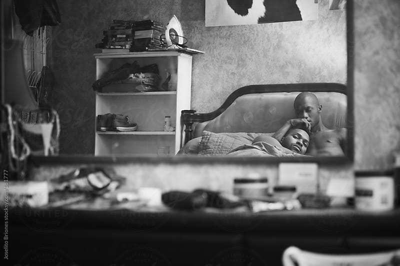 Black and White Portrait of Gay Black Men Couple Lying in Bed by Joselito Briones for Stocksy United
