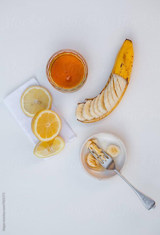 Homemade, natural Banana honey and lemon face mask by kkgas for Stocksy United