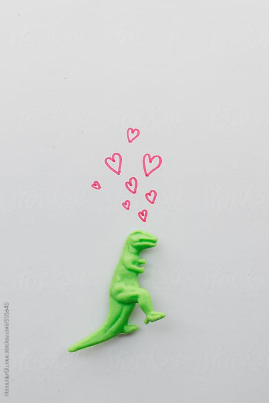 Funny T-rex Dinosaur In Love by Nemanja Glumac for Stocksy United