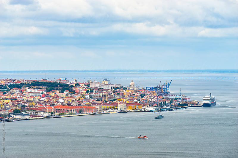 Lisbon, Portugal - Elevated View of the City Center and the River Tagus (Tejo) by Tom Uhlenberg for Stocksy United