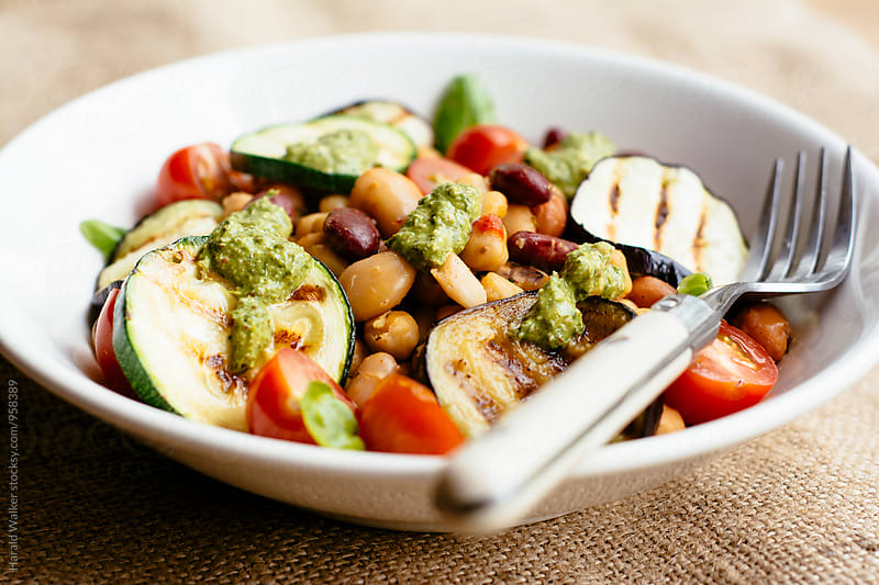 Grilled Vegetables with Mixed Beans and Spinach Walnut Pesto by Harald Walker for Stocksy United