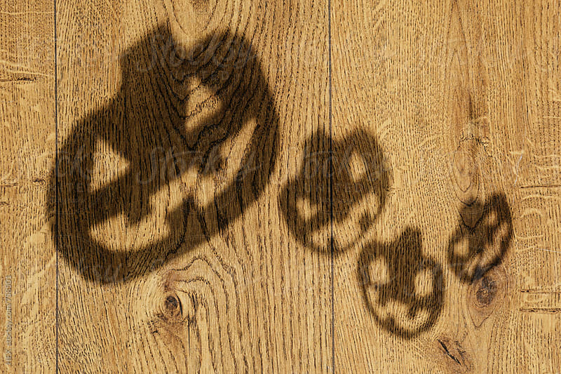 Halloween Pumpkin Shadows on the Wooden Floor by HEX. for Stocksy United