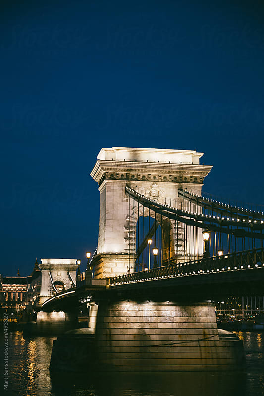 Chain bridge in Budapest by Martí Sans for Stocksy United