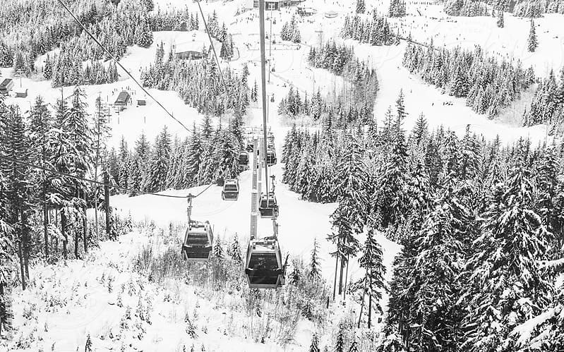 Cable car ride high atop the trees and mountains covered with snow by Lawrence del Mundo for Stocksy United