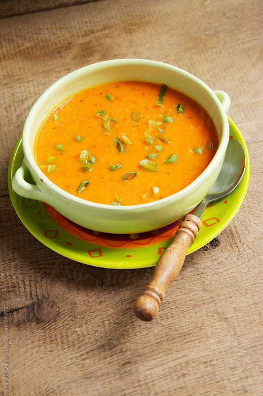 Turnip and Red Bell Pepper Soup by Harald Walker for Stocksy United