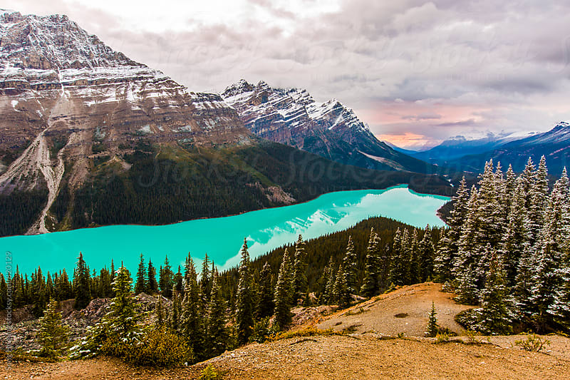 Peyto Lake at sunset by Song Heming for Stocksy United