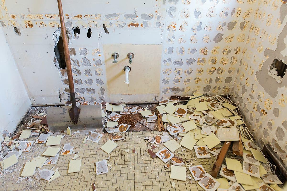Charming Bathroom Demolition By Maria Manco For Stocksy United