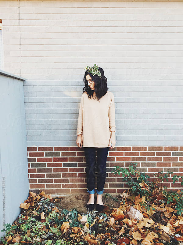 Girl with Leaves in Hair by luke + mallory leasure for Stocksy United