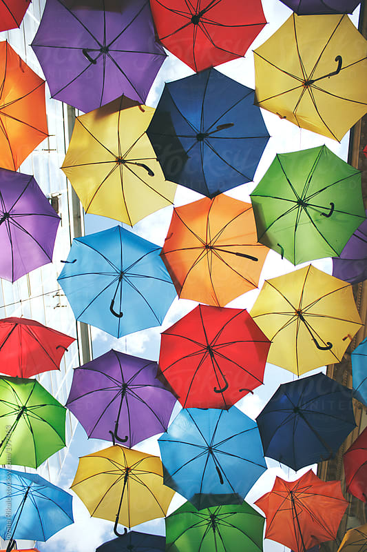 Hundreds of colourful umbrellas float above the street by Jovana Rikalo for Stocksy United