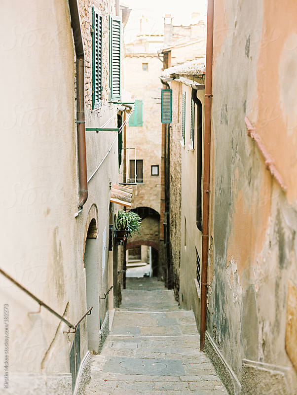Alleyway in Montelpulciano, Tuscany by Kirstin Mckee for Stocksy United