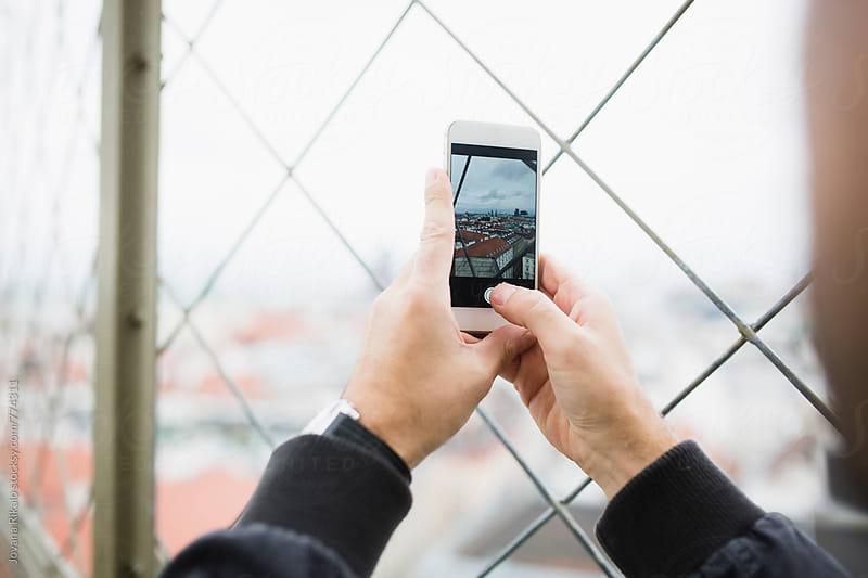 Man taking photos of Vienna city by Jovana Rikalo for Stocksy United
