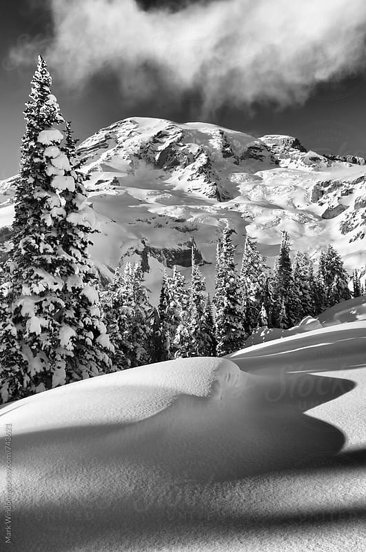 Mountain winter scene in black and white by Mark Windom for Stocksy United