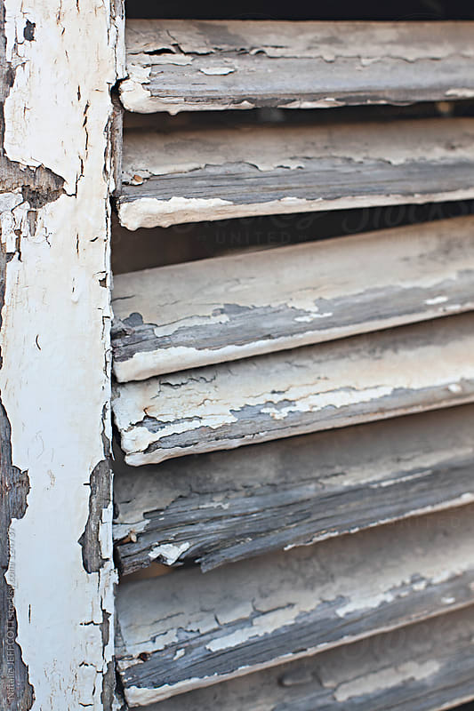 close up of old and weathered shutter by Natalie JEFFCOTT for Stocksy United