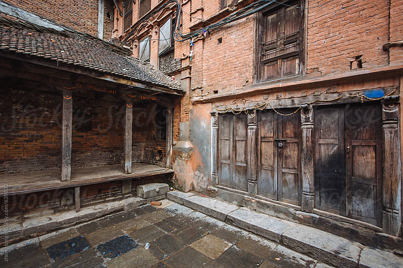 Ancient architecture in the ancient city Bhaktapur,Nepal by zheng long for Stocksy United