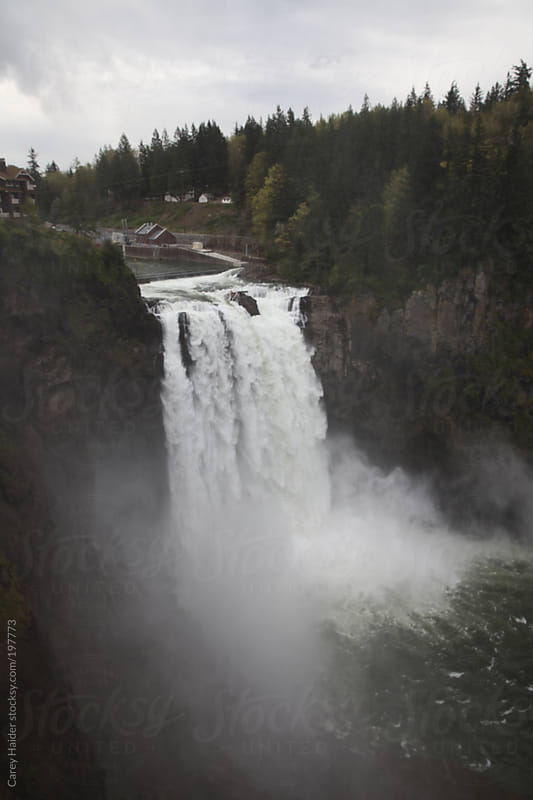 Waterfall at Snowqualmie Falls Washington by Carey Haider for Stocksy United