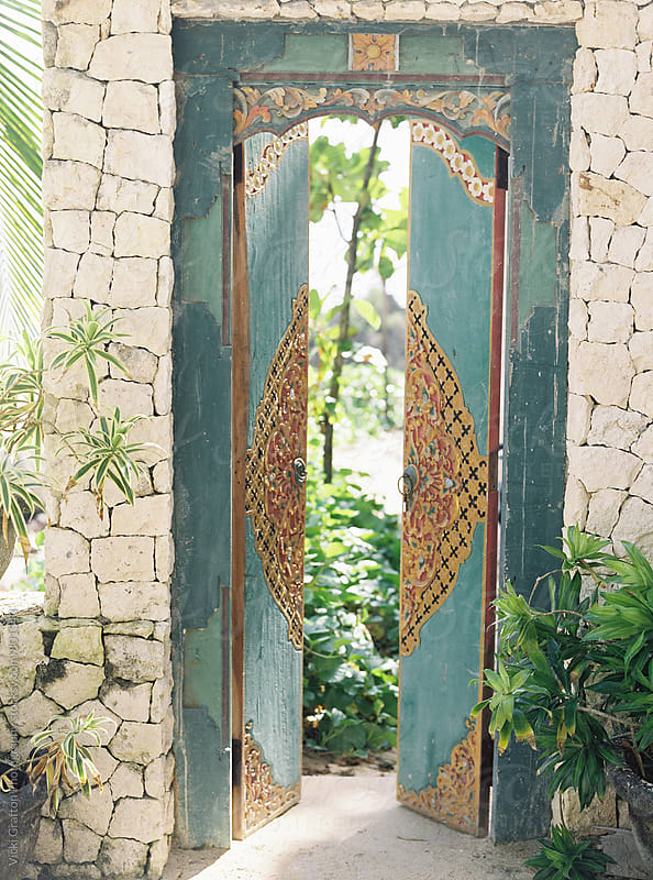 Carved doorway in Bali  by Vicki Grafton Photography for Stocksy United