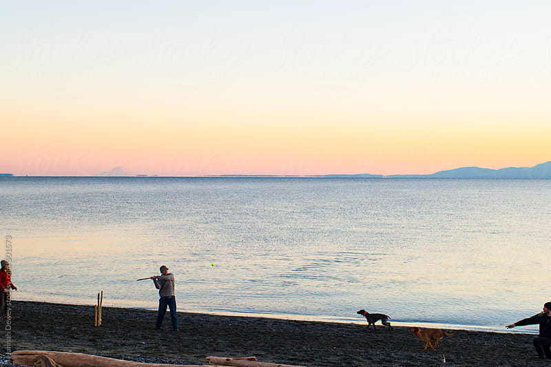Three friends play a game of driftwood baseball with their dogs on the beach by Hannah Dewey for Stocksy United