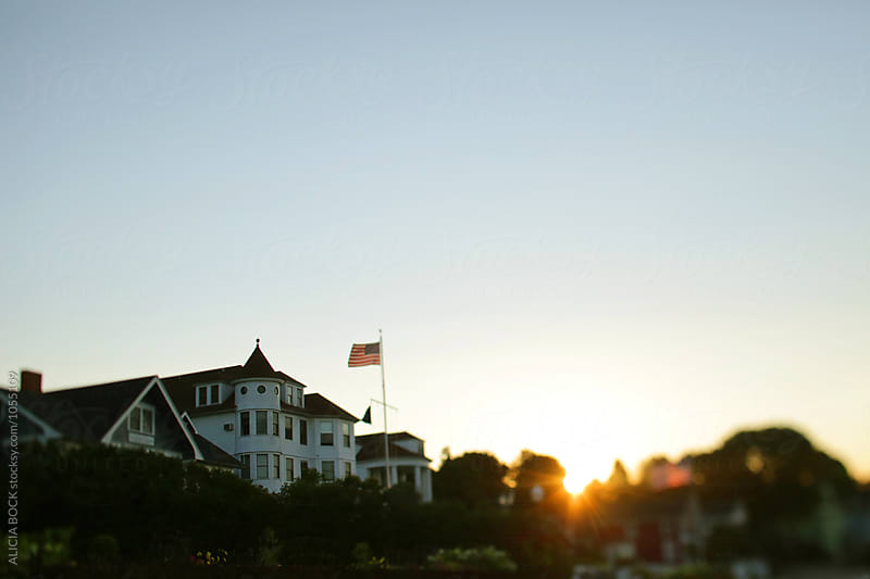 Sunrise Over Victorian Cottages On Mackinac Island Michgan by ALICIA BOCK for Stocksy United