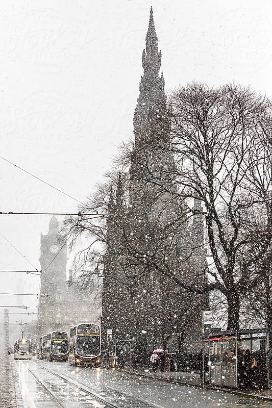 Princes Street, Edinburgh, in the Snow by Helen Sotiriadis for Stocksy United