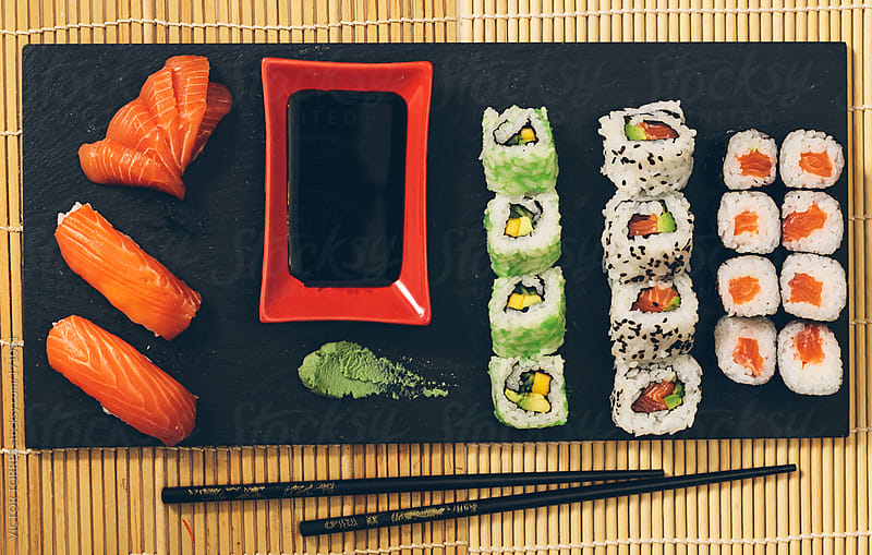 Slate with Variety of Sushi by VICTOR TORRES for Stocksy United