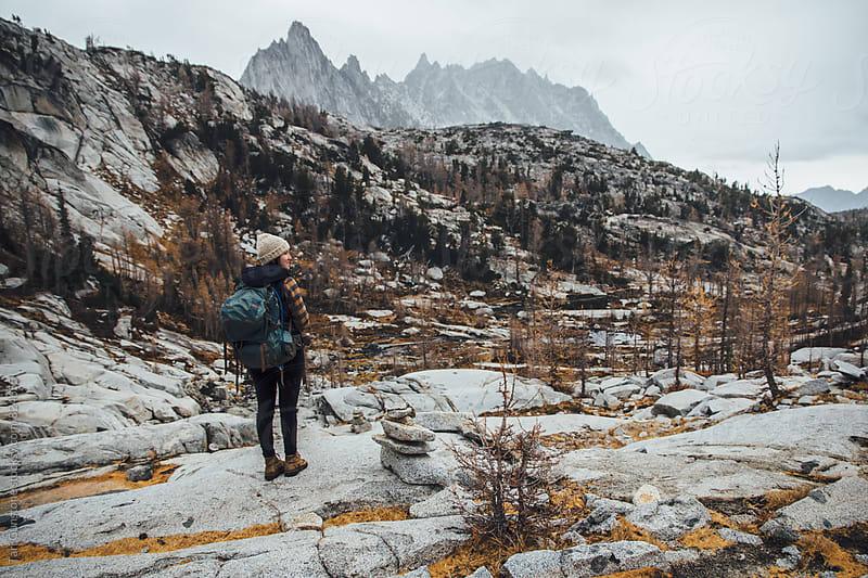 Backpacker against grand landscape by Tari Gunstone for Stocksy United