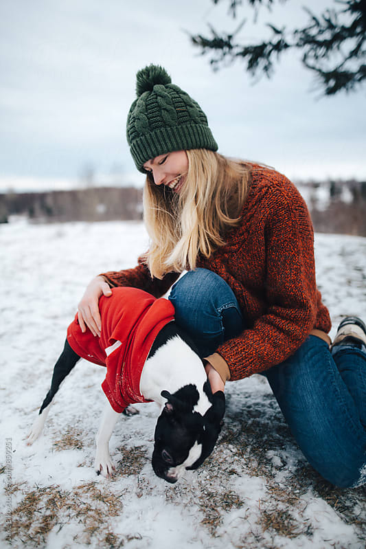 Blonde Hair and Boston Terrier by Jake Elko for Stocksy United