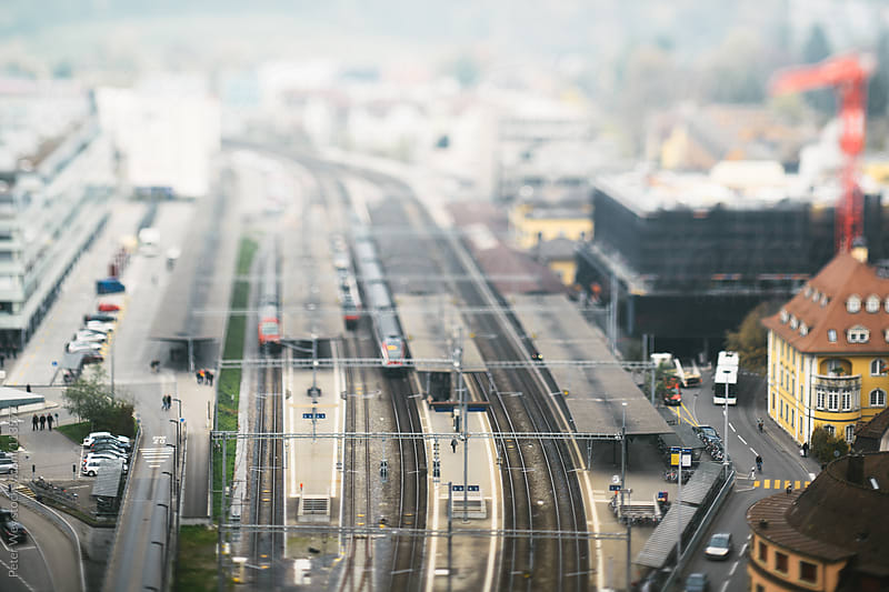 Tilt shift miniature city by Peter Wey for Stocksy United