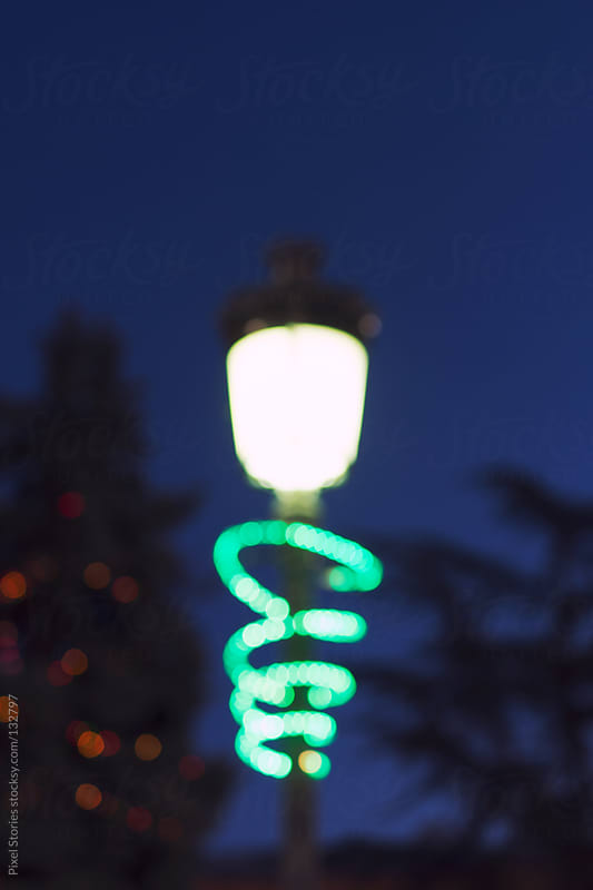 Christmas street light by Pixel Stories for Stocksy United