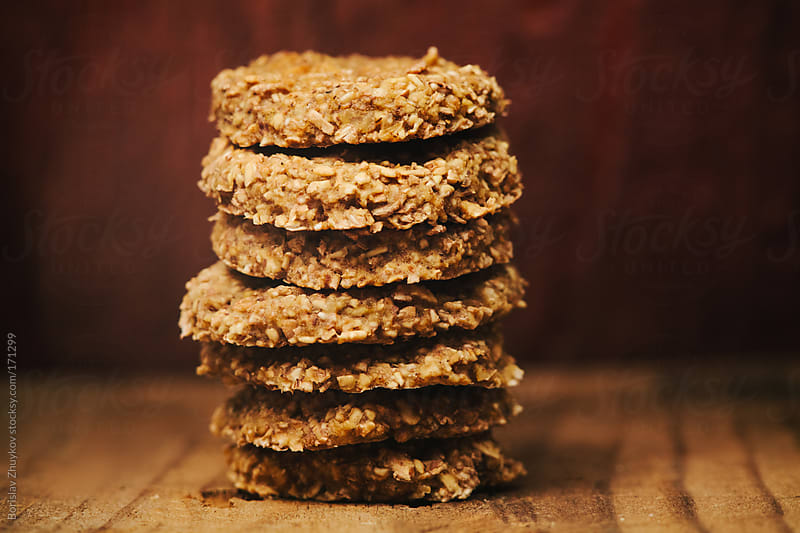 Healthy raw oat cookies  by Borislav Zhuykov for Stocksy United