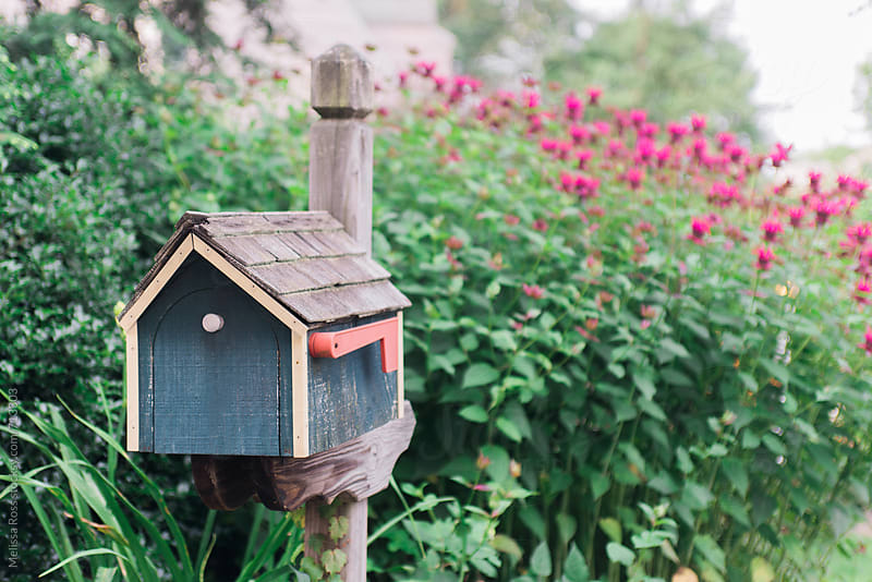 House shaped mailbox or postbox. by Melissa Ross for Stocksy United