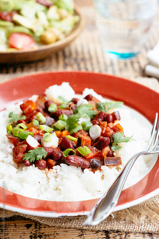 Eggplant, Kidney Beans Stew on Rice by Harald Walker for Stocksy United