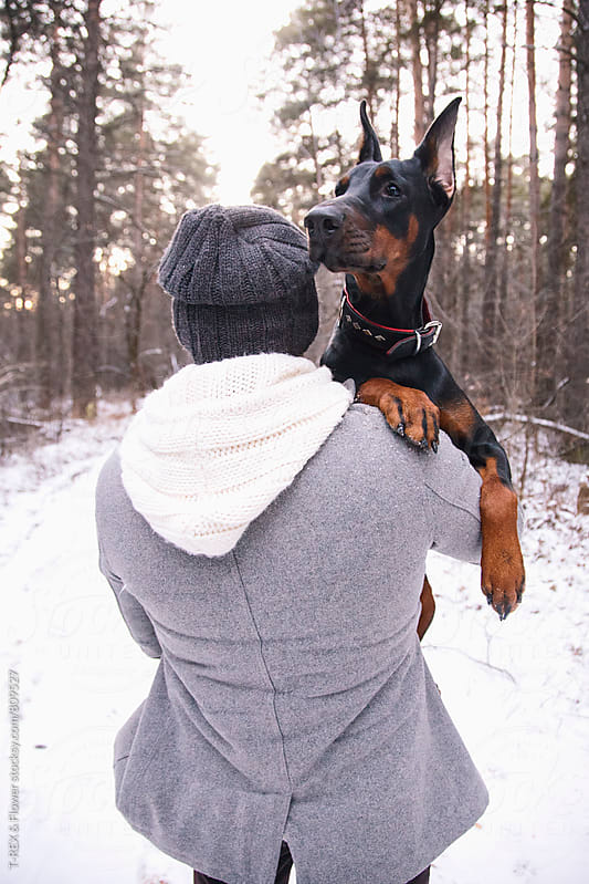 Photo of man holding his lovely Doberman by Danil Nevsky for Stocksy United