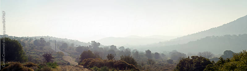panorama of morning mist over valley by Canan Czemmel for Stocksy United