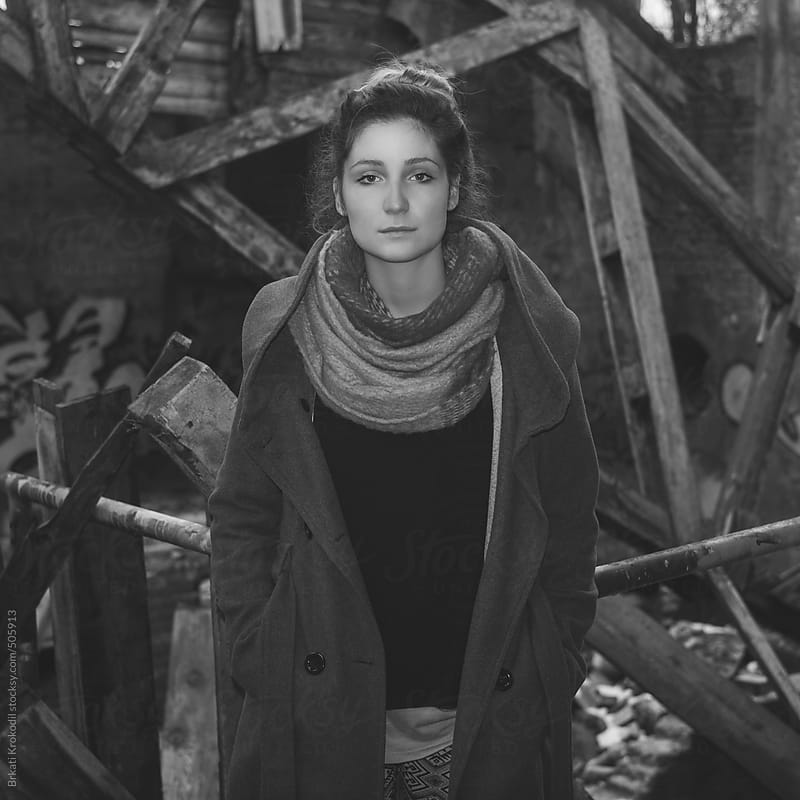 Portrait of a young woman in the abandoned factory by Brkati Krokodil for Stocksy United