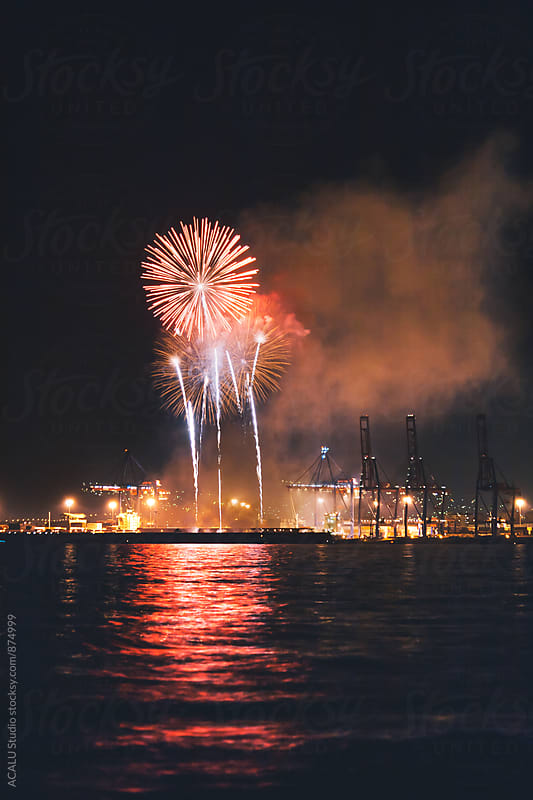 Fireworks by the sea by ACALU Studio for Stocksy United