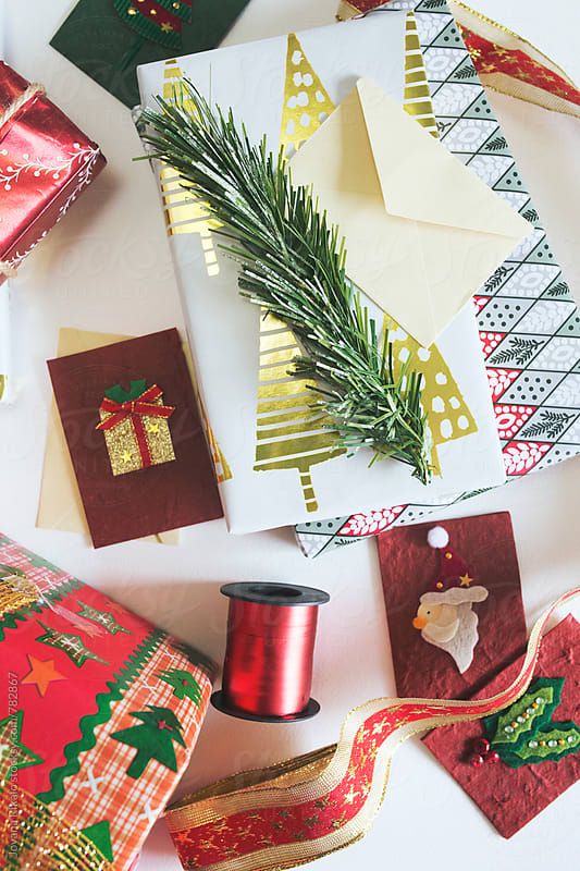 Homemade wrapped Christmas presents by Jovana Rikalo for Stocksy United