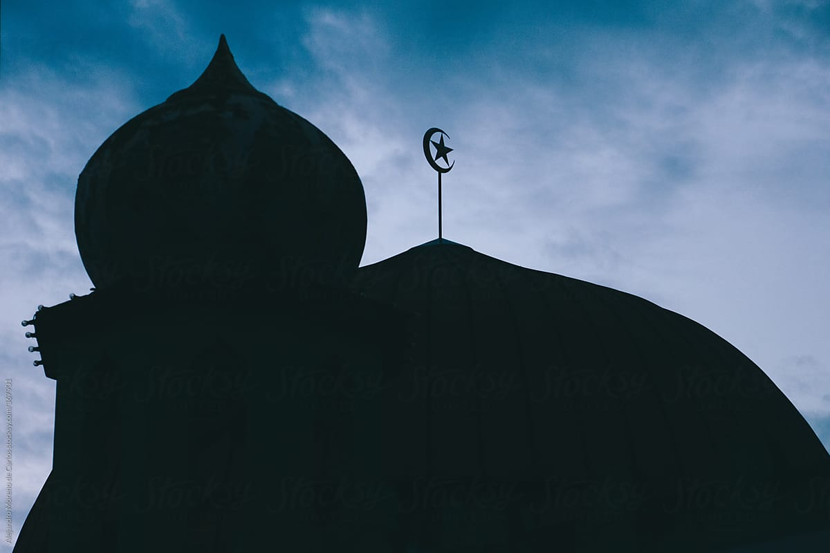 Mosque Dome With Crescent Moon And Star Islam Symbol At Dusk