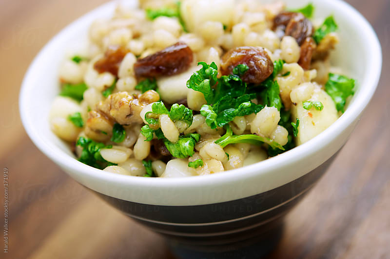 Barley, Walnut and Pear Salad with Raisins by Harald Walker for Stocksy United