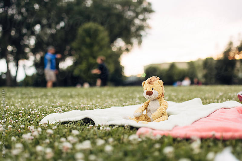 Plush toy left alone on a blanket in a park by Gabriel (Gabi) Bucataru for Stocksy United