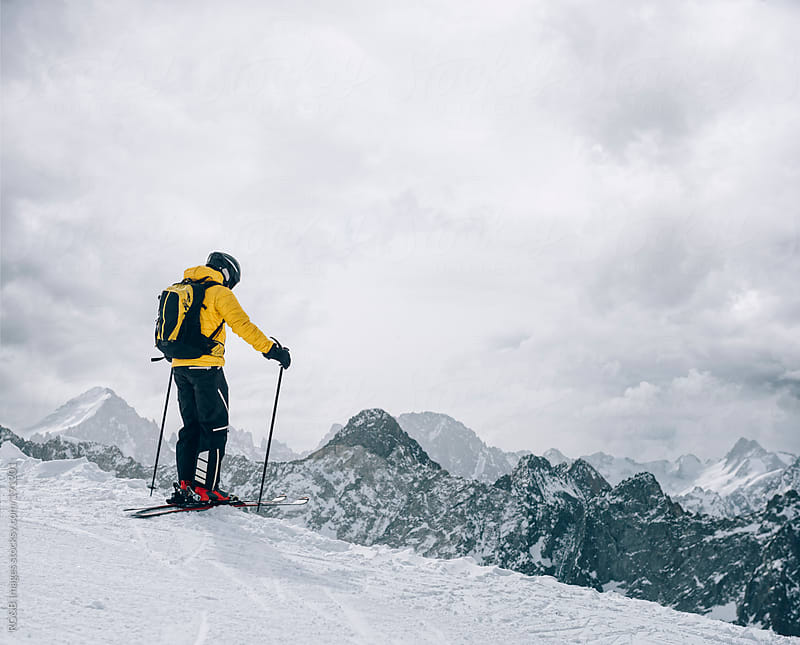 Skier preparing to go downhill by RG&B Images for Stocksy United