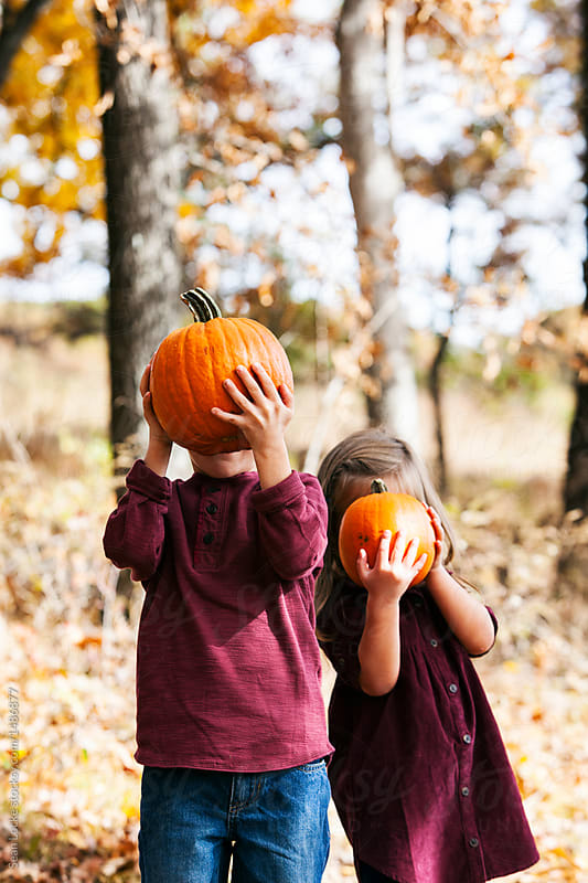 stock photo: kids with pumpkins