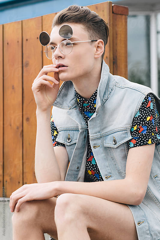 Trendy young hipster in sunglasses by Ania Boniecka for Stocksy United