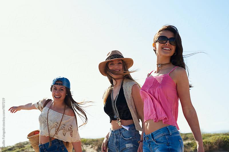 Happy girls on beach
